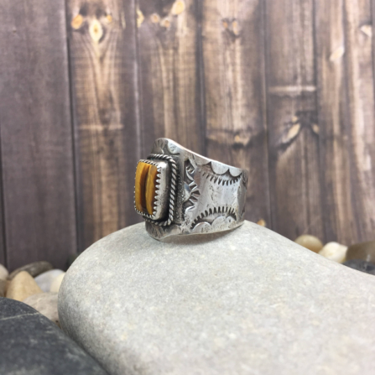 Mandana Studios sterling silver SQUARE TIGERSEYE RING