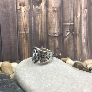 Mandana Studios sterling silver STAMPED SIGNET BAND RING