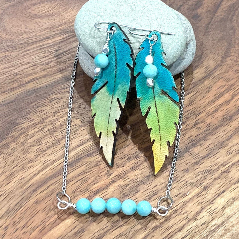 Amazonite Gemstone Pendant matching earrings