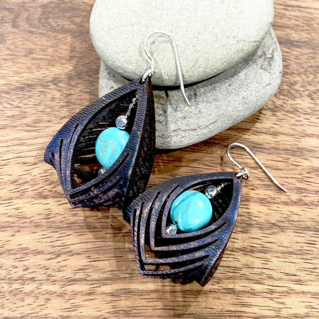 black leather cage earrings with howlite stone