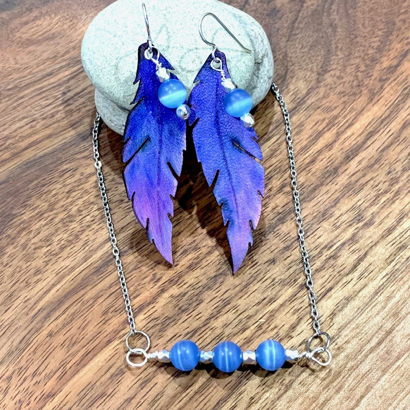 Blue Cats Eye Pendant and earring set