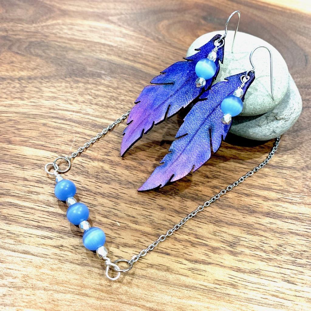 Blue catseye pendant and matching earrings
