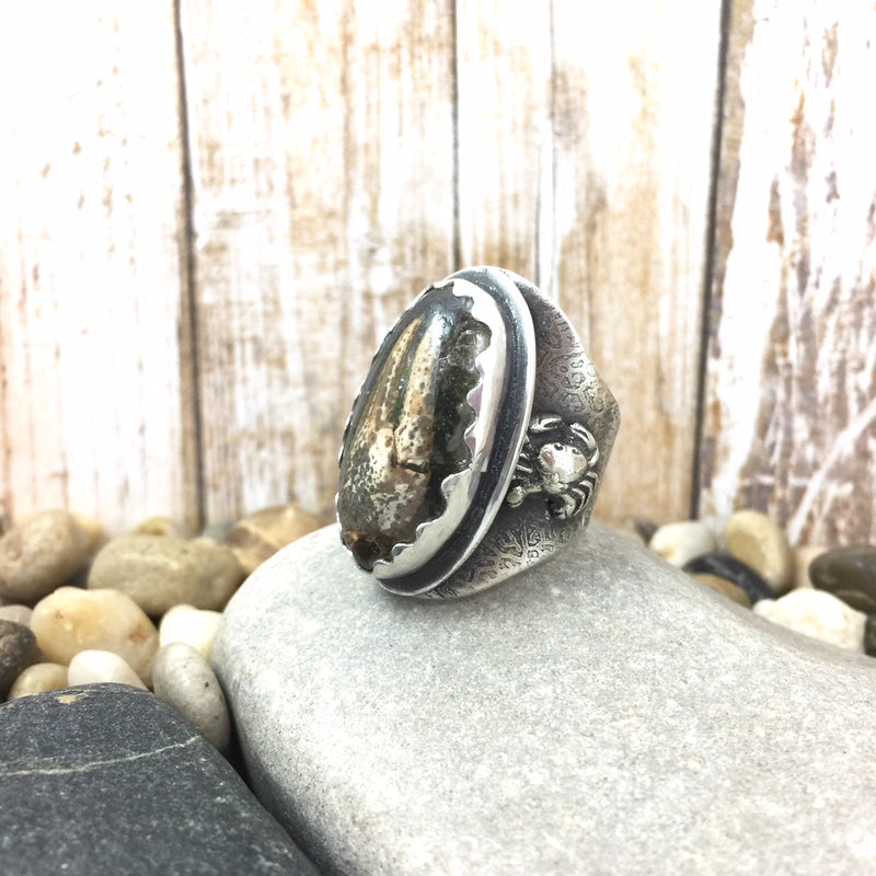 Mandana Studios sterling silver OCEAN DREAM RING, crab claw ring, resin jewelry