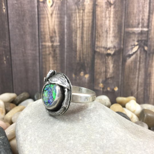 Mandana Studios SILVER TWIG AND LEAF OPAL RING