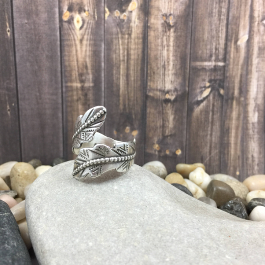Mandana Studios sterling silver DOUBLE FEATHER WRAP RING