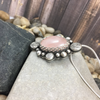 Mandana Studios sterling silver Rose Quartz pendant with pretty silver roses