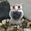 PICASSO JASPER OWL WITH GARNET EYES