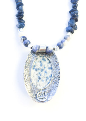 Mandana Studios K2 JASPER PENDANT with soadalite beaded necklace