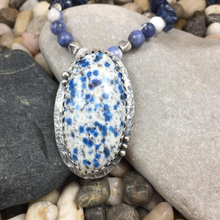 Load image into Gallery viewer, Mandana Studios K2 JASPER PENDANT with soadalite beaded necklace