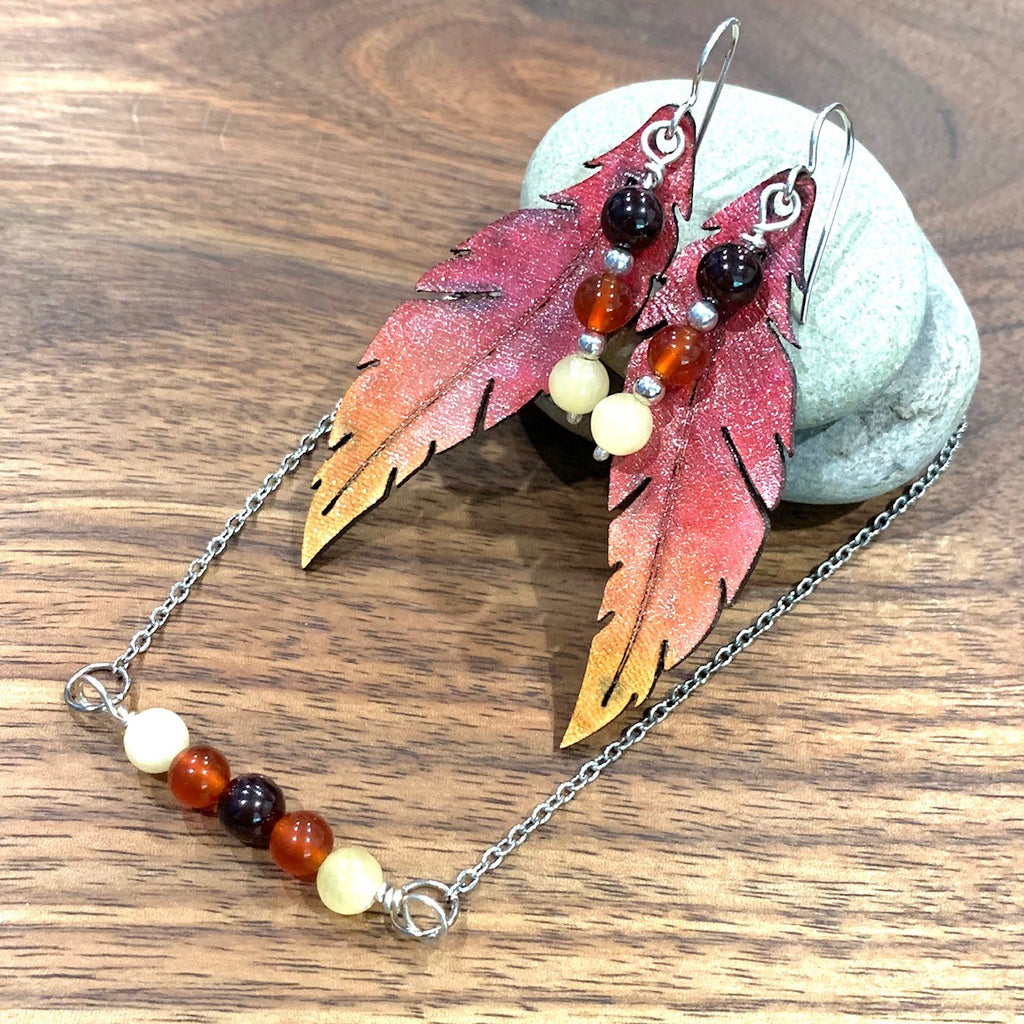 Garnet, carnelian and yellow jade pendant and matching earrings
