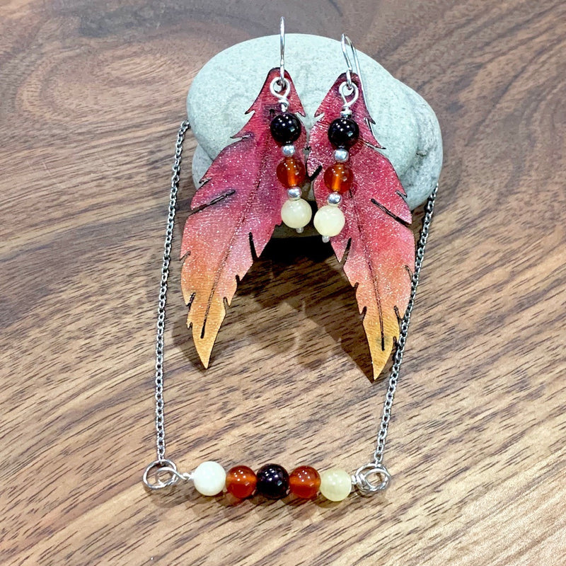 Phoenix feather earrings and matching pendant