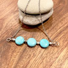 Load image into Gallery viewer, Turquoise color Howlite Triple Stone Pendant
