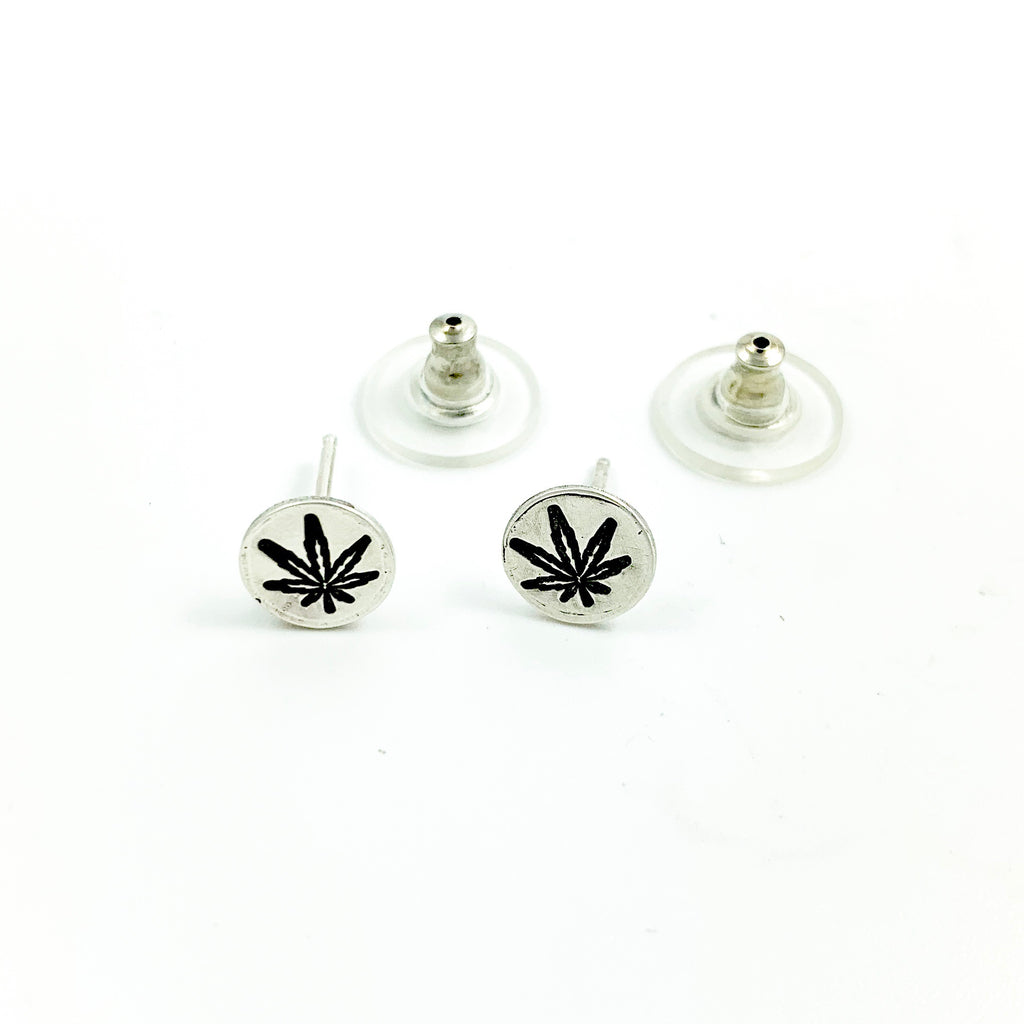 Mandana Studios Cannabis round earrings, cannabis silver jewelry, sterling silver earrings, handstamped hemp earrings