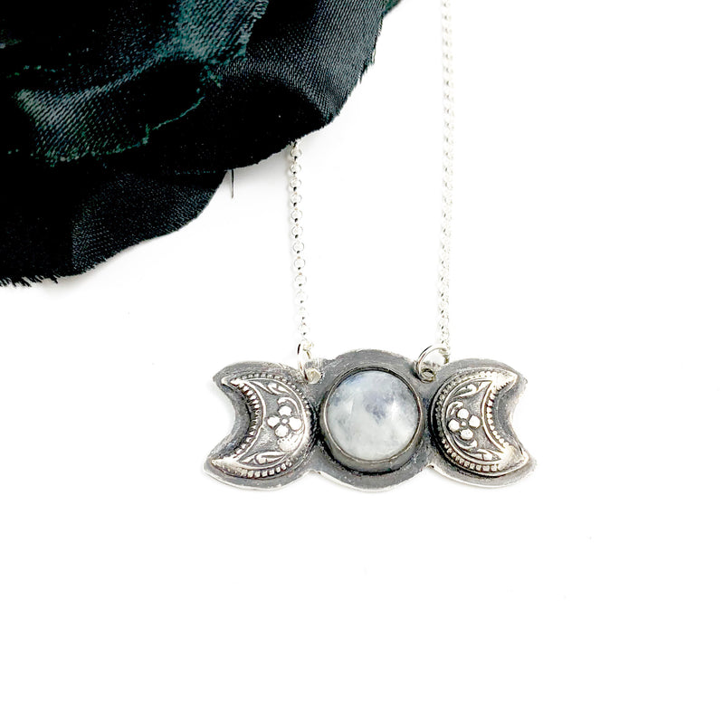 Mandana Studios sterling silver triple goddess moon pendant with moonstone