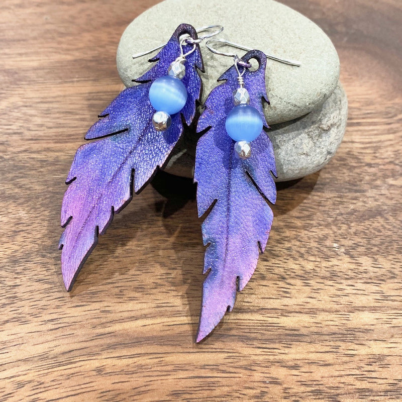 Purple Ombre Feather Earrings