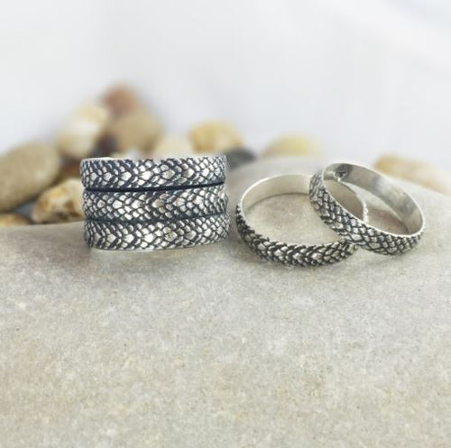 Mandana Studios sterling silver snake skin stacking ring, silver dragon scale ring