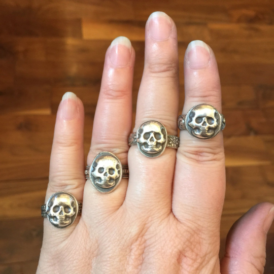 Mandana Studios sterling silver skull stacking ring