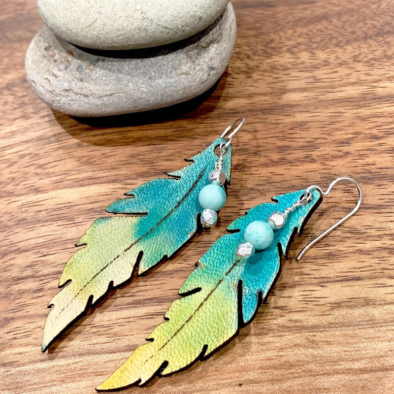 Turquoise Ombre Feather Earrings