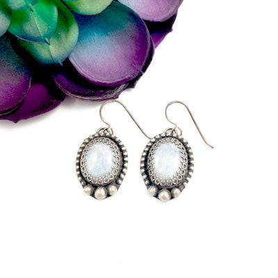 Mandana Studios moonstone sterling silver earrings, drop earrings