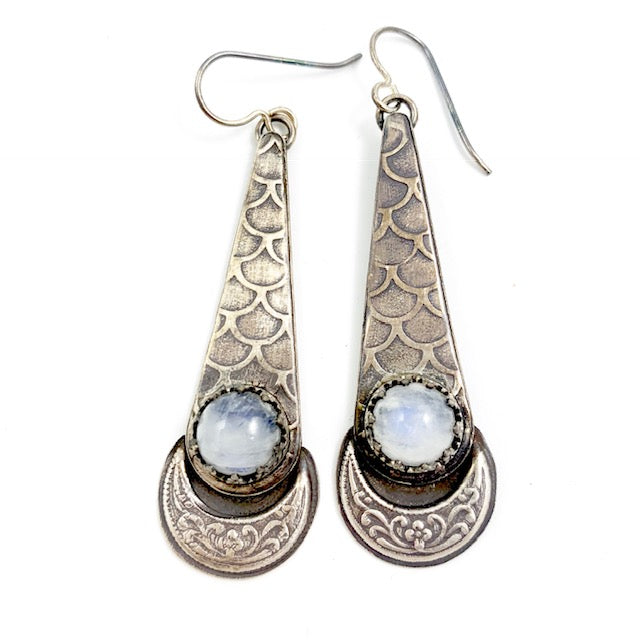 Mandana Studios MOONSTONE MERMAID GODDESS EARRINGS, moonstone sterling silver earrings, drop earrings