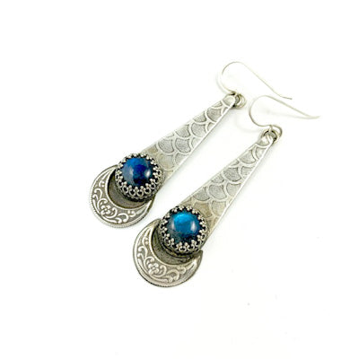 Mandana Studios labradorite sterling silver earrings, mermaid drop earrings