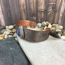 Load image into Gallery viewer, Mandana Studios TEXTURED COPPER CUFF with cultured opal