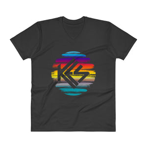 Kes Brushstroke Logo Mens V-Neck T-Shirt