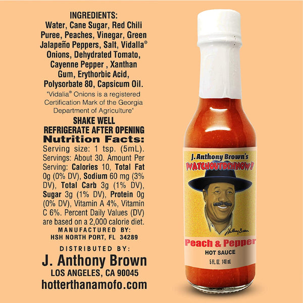 """Peach & Pepper"" J Anthony Browns WatchOutDehNow Hot Sauce *Pre-Order Only*"