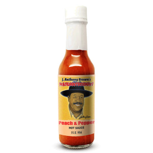 """Peach & Pepper"" J Anthony Browns WatchOutDehNow Hot Sauce"