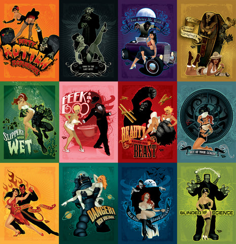 12 Pack - 5x7 Minicards Spookshow Pinups