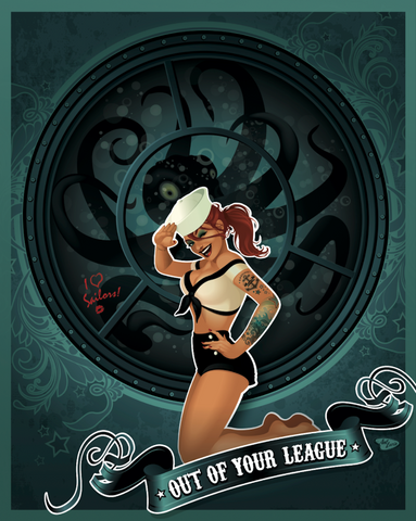 "16x20 Spookshow Pinups ""Out of Your League"""