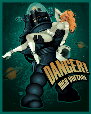 "16x20 Spookshow Pinups ""Danger! High Voltage"""