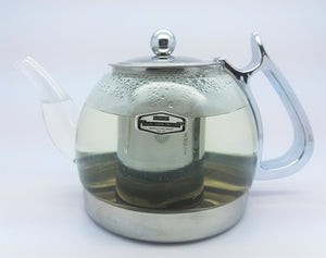 Glass & Stainless Steel Teapot w/Herbs