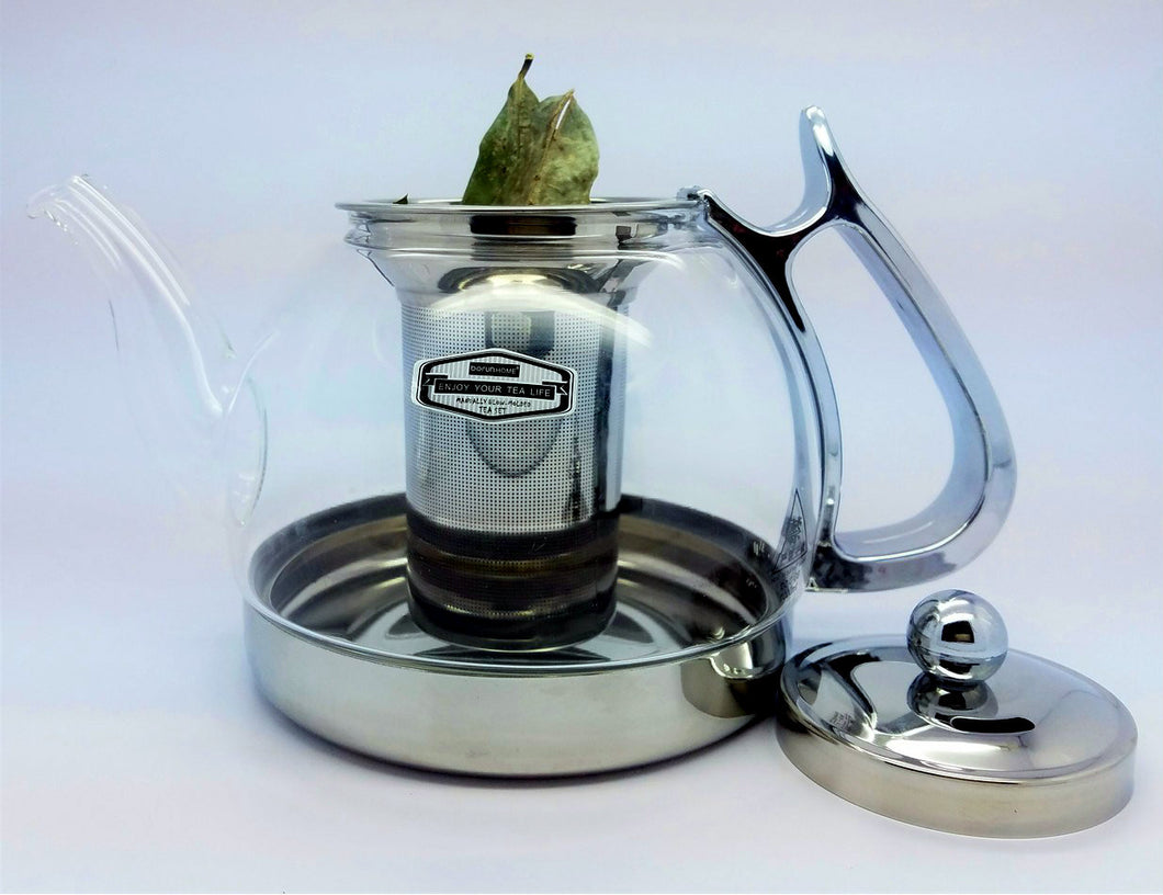 Filtered Glass and Stainless Steel Teapot
