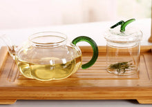 Load image into Gallery viewer, Glass Green Herb Teapot
