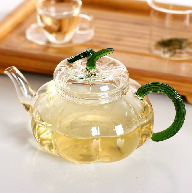 Glass Green Herb Teapot
