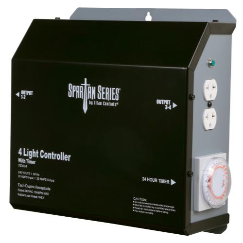 Titan Controls Spartan Series Metal 4 Light Controller 240 Volt w/ Timer - Universal Outlets (4/Cs)