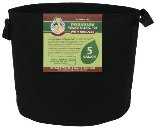 Gro Pro Premium Round Fabric Pot w/ Handles 5 Gallon - Black (110/Cs)