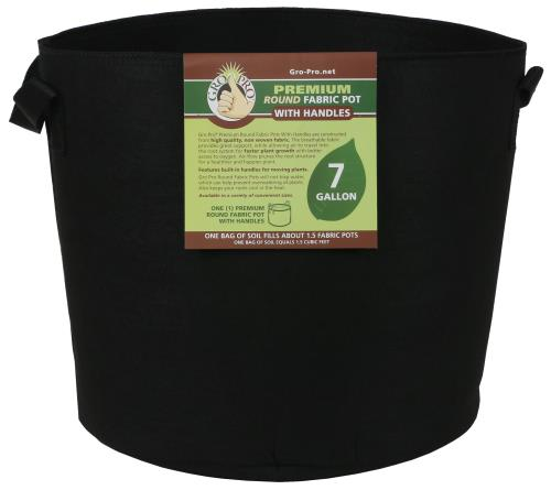 Gro Pro Premium Round Fabric Pot w/ Handles 7 Gallon - Black (84/Cs)