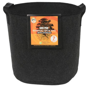 Gro Pro Essential Round Fabric Pot w/ Handles 7 Gallon - Black (84/Cs)