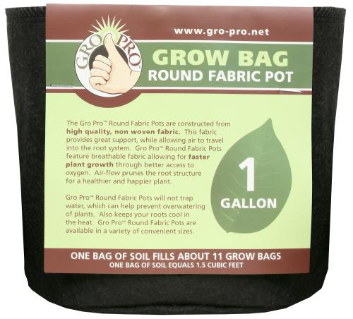 Gro Pro Premium Round Fabric Pot 1 Gallon (160/Cs)