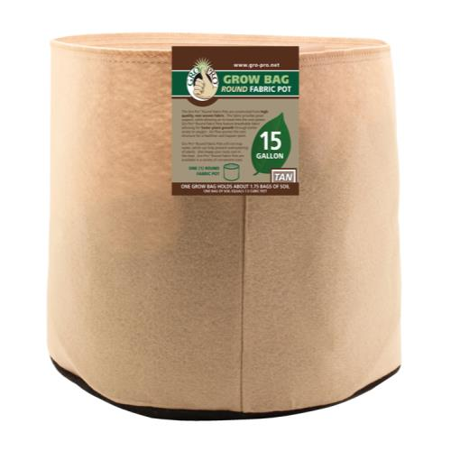 Gro Pro Premium 15 Gallon Round Fabric Pot-Tan (48/Cs)