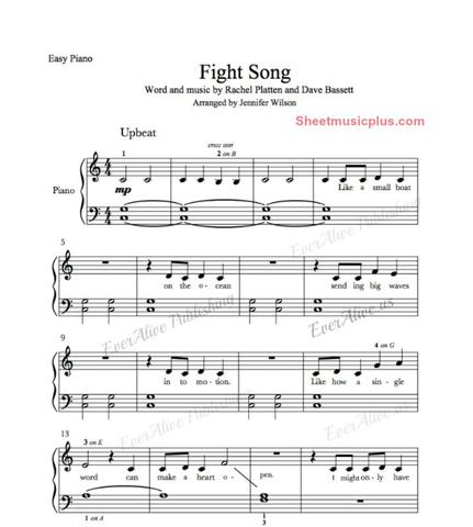 EverAlive - Fight Song - Easy Piano Sheet Music