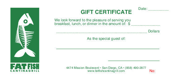Fat Fish Gift Certificates