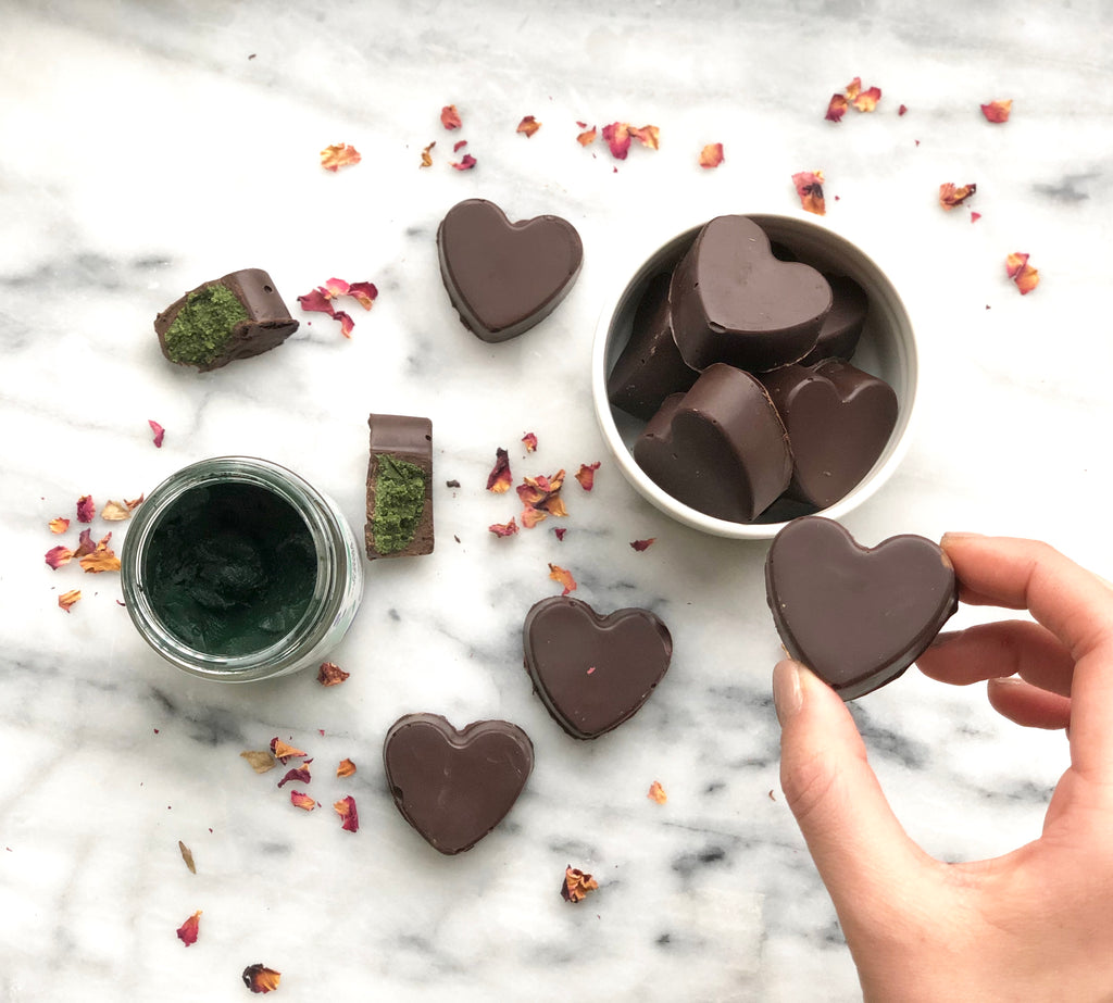 Matcha Spirulina Dark Chocolate Hearts