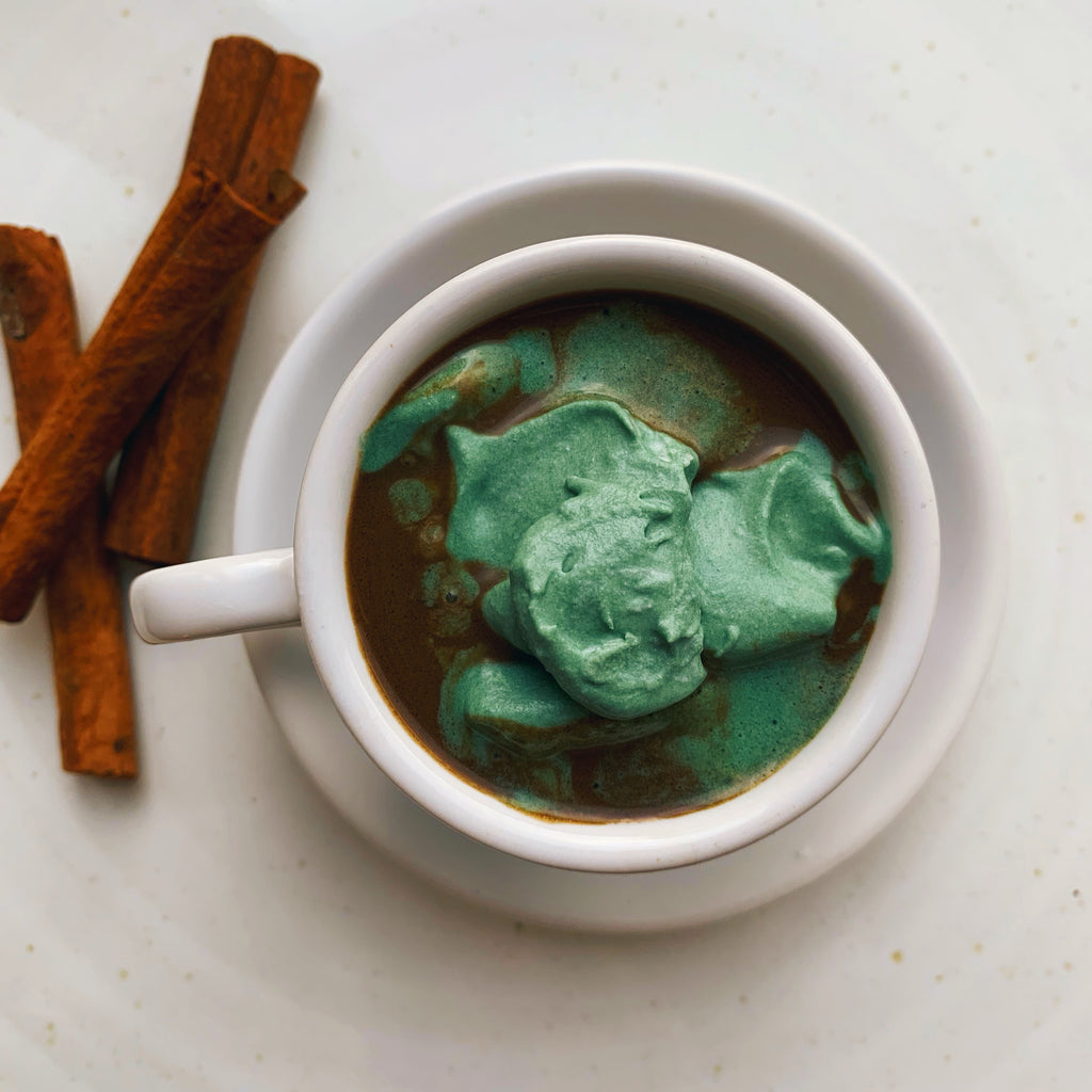 Double Spirulina Hot Chocolate with Whipped Coconut Cream