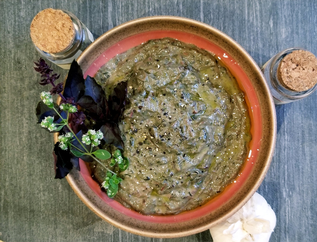 Swiss Chard, Tahini and Spirulina Dip