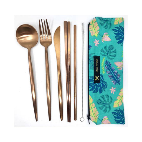DELUXE REUSABLE ECO TRAVEL CUTLERY SET 7PC