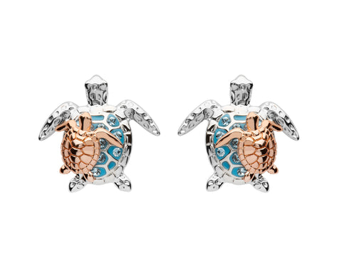 TURTLE & ROSE GOLD HATCHLING AQUA CRYSTAL POST EARRINGS