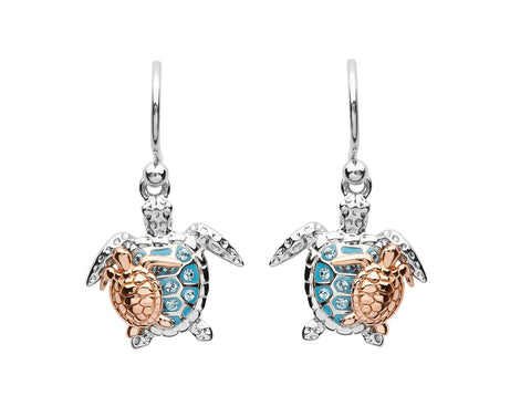 TURTLE & ROSE GOLD HATCHLING AQUA CRYSTAL DANGLE EARRINGS